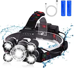 BRIGENIUS Headlamp, USB Rechargeable LED Head Lamp, 12000 Lumen 5 LED 4 Modes Headlight..