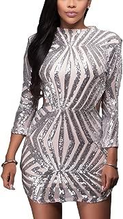 Sequin Detail Open Back Party Mini Dress