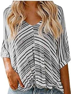 FSSE Women's Knot Twist Front Stripe Loose Batwing Sleeve V Neck T-Shirts Blouse Tops