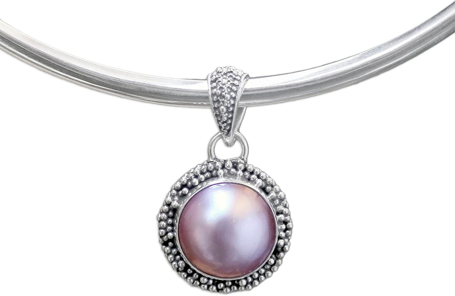 NOVICA Dyed Super intense SALE Pink Cultured Mabe Silver Sterling New popularity Collar .925 Pearl