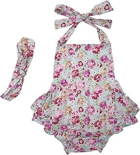 Baby Girls' Floral Print Ruffles Romper Summer Dress