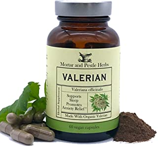 Mortar and Pestle Herbs Pure Organic Valerian Root Capsules - 900 mg - Supports Healthy Sleep Cycle* with no Melatonin, Non-GMO - 60 Count Vegan Capsules, Herbal Supplement - Made in The USA