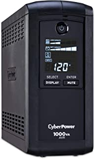 CyberPower CP1000AVRLCD Intelligent LCD UPS System, 1000VA/600W, 9 Outlets, AVR, Mini-Tower, Black