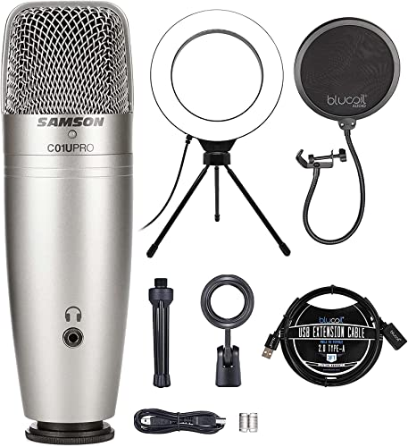 """wholesale Samson C01U Pro USB Studio Condenser Microphone for iPad, Mac, and Windows Bundle with Blucoil Pop Filter Windscreen, 6"""" Dimmable wholesale Selfie Ring Light, and 3-FT USB 2.0 Type-A Extension outlet online sale Cable outlet sale"""