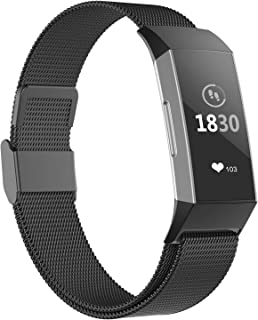 POY Compatible for Fitbit Charge 3 Bands,Replacement Wristbands for Fitbit Charge 3 SE Fitness Activity Tracker, Metal Stainless Steel Bracelet Strap with Unique Magnet Lock for Women Men Black L