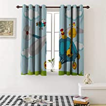 shenglv Nursery Customized Curtains Funny Giraffe and Bird on Helicopter Fluffy Clouds Grass Adventure Journey Curtains for Kitchen Windows W63 x L45 Inch Blue Yellow Green