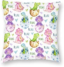 Decorative Pillow Covers Fun and Cute Watercolor Baby Dinosaur Throw Pillow Case Cushion Cover Home Office Decor,Square 16...