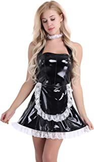 inhzoy Women's Wet Look PVC Leather French Apron Maid Cosplay Fancy Dress Costumes
