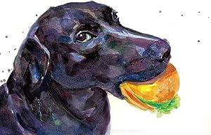"Black Labrador Retriever Art Print   Black Lab Gifts   Original Painting   BlackLab Meme   ALL FOOD MUST GO TO THE LAB FOR TESTING   handmade   8x10"" and 11x14"" (8''X10'')"