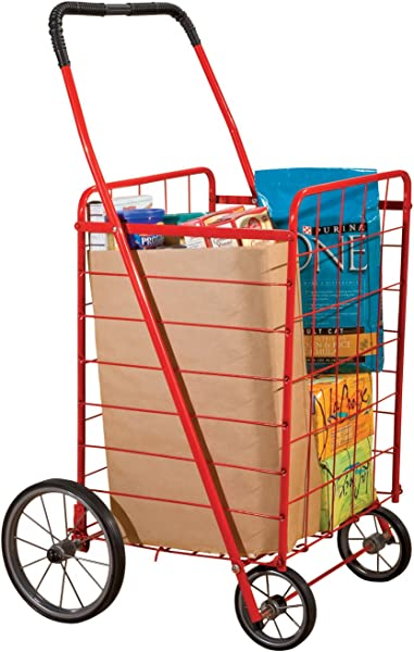 Miles Kimball Extra Large Grocery Utility Shopping Cart Deluxe Steel Trolley With Wheels Lightweight Versatility