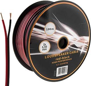 MKGT® Lautsprecherkabel, 2 adrig, 2 x 0,50 mm, ideal für Auto Audio  und Heim HiFi System, 10, 20, 50, 100 m 100 Metres rot / schwarz