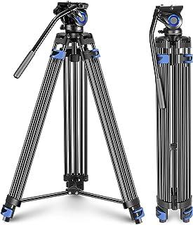 Neewer Professional Hochleistungs Videostativ 76 Zoll Aluminiumlegierung Flüssigwiderstand Schwenk Kopf Halterung für linken/rechten Lenker MittelSpreizer für DSLR Kameras Videokamera bis zu 15Kg