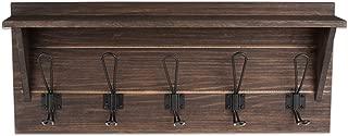 Wall Mounted Coat Rack with Shelf - 24 Inch Rustic Wooden 5 Hook Coat Hanger Rail, Rustic Oak Wood, Black Metal Hooks