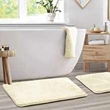 Memory Foam Bathrug 2 Pack Set - White - Bath Mat and Shower Rug Large 20 x 32 inches Non Slip Latex Free Plush Microfiber...