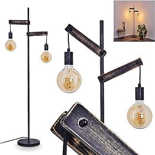 Lampadaire Aarhus en bois vieillit et métal noir, luminaire rétro de 150 cm de haut idéal dans un salon vintage, avec inte...