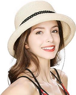 Jeff & Aimy Womens Summer Straw Beach Sun Hat Rolled Brim Fashion Fedora Packable & Adjustable 56-58CM