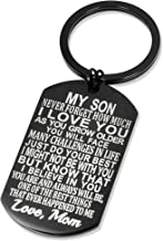 Inspirational Gift to Son From Mom-Never Forget Mother to Son Birthday Graduation Gifts Keychain for Teen Boy
