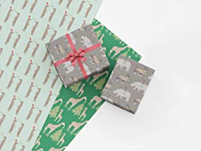 Safari Animal Christmas Gift Wrap Collection, 9 Rolled Sheets of Giraffe, Meerkat, Rhino and Oryx Holiday Wrapping Paper, Made in America by REVEL & Co