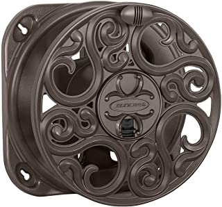 Suncast Sidewinder Side Scroll Mount House Reel - Fully Assembled Stylish Wall Mount with Removable Reel for Garden Hoses - 60' Vinyl Hose Capacity - Bronze