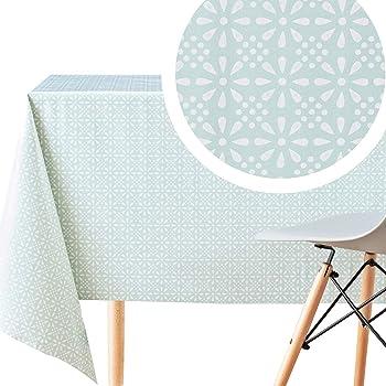 Home Direct Nappe Toile cir/ée PVC Rectangulaire 140 x 200 cm Blanc Orange Bleu