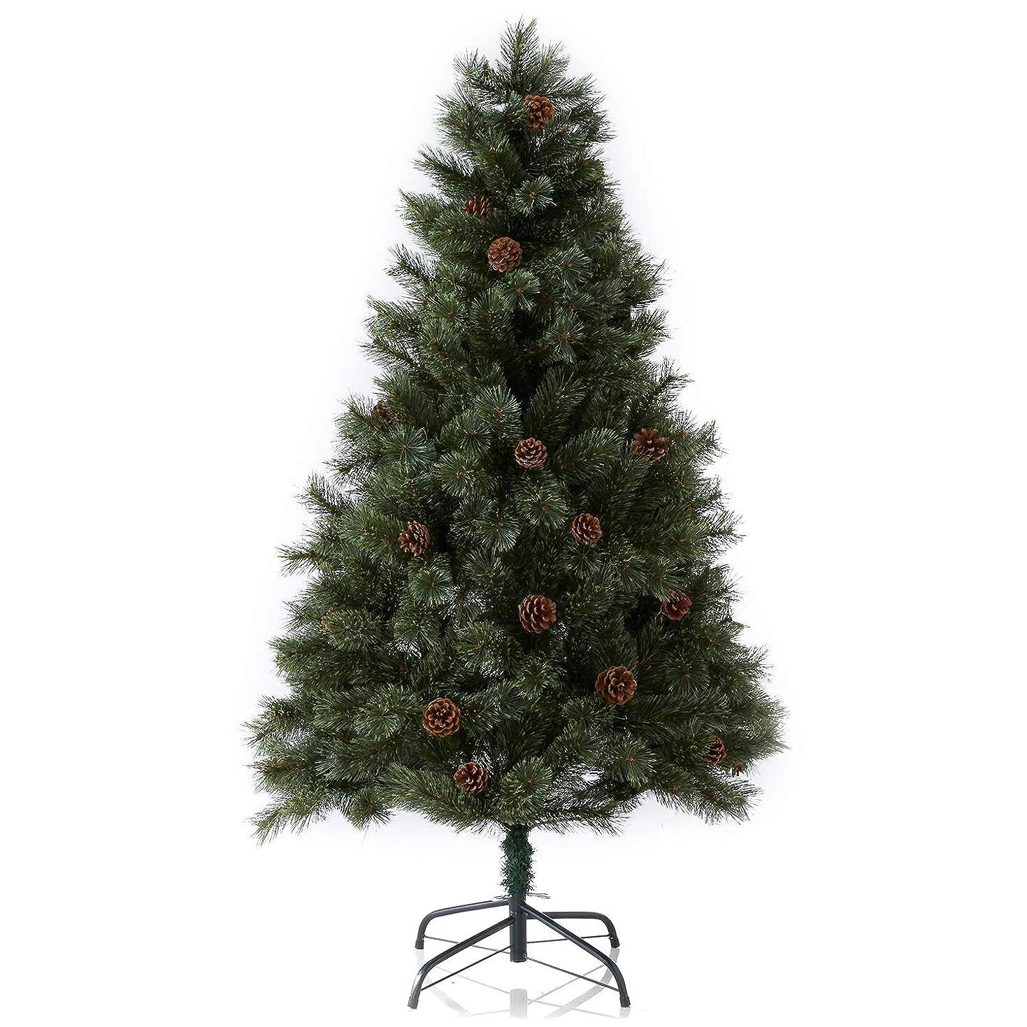 敬意を表して継承ワットLOWYA クリスマスツリー 天然松ぼっくり リアルMIX葉 ヌードツリー シンプル 簡単組立 120㎝