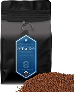 Organic Cold Brew Coffee Grounds, 1 lbs - Colombian Supremo Reserve Flavor Dark Roast, Coarse Grind - 100% Arabica Beans - Handcrafted, Single Origin, Micro Roast, Direct Trade � By Stack Street