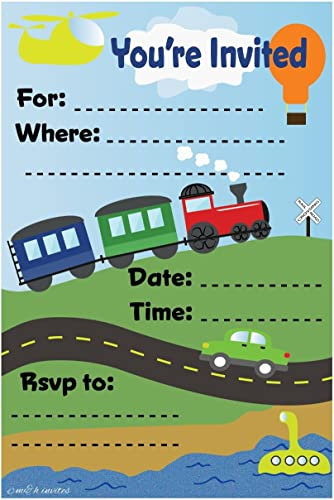 en linea Transportation Train Themed Themed Themed Birthday Party Invitations - Fill In Style (20 Count) With Envelopes by m&h invites  nueva marca