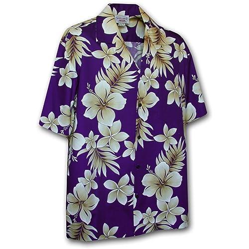 cda08fc7 Hawaiian Shirt for Men-Purple w/White Flowers