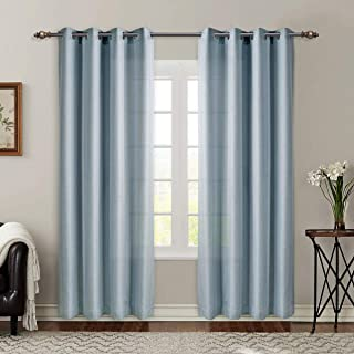 SINGINGLORY Blue Semi Sheer Curtains, 52 x 96 Linen Textured Grommet Panels for Living Room, Bedroom (2 Panels, Duck Egg Blue)