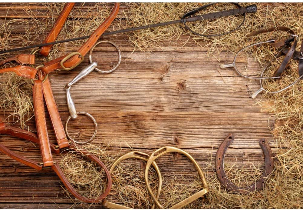 Haoyiyi 5x5ft Cowboy Backdrop American West Traditional Authentic Style Rodeo Cowboy Saddle Wood Ranch Barn Background Photography Photo Boys Adults Outdoor Picnic Hiking Pictures Decor
