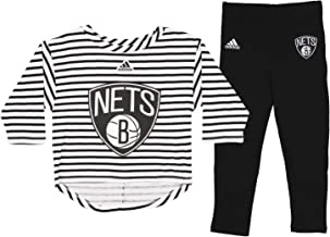 Brooklyn Nets NBA Little Girls Toddler B-Ball Sweetheart Long Sleeve Tee and Pants Set, Black/White