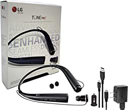 LG Tone 780 Black - Bluetooth Wireless Stereo Headset with Car Charger, Ear Gels with Car/Wall Charger (Renewed)