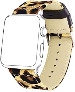Bandmax Fabric Replacement Strap Compatible Apple Watch,Stainless Steel Metal Clasp Buckle Comfortable Denim Fabric Watch Band Compatible iwatch Series 4/3/2/1(Leopard Pattern 38MM/40MM)