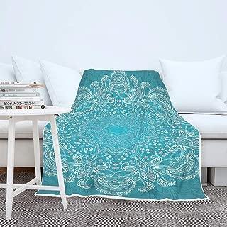 DYG88 Blanket Magic Mandala Theme Printed Premium Oversize Blanket Robe - Ethnic Style Cozy for Lunch Hour Use White 60x80 inch