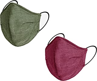 Washable Face Mask (Pack of 2) Premium Reusable masks for every day use (Dark Green & Crimson)