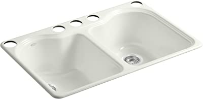 Kohler K-5818-5U-NY Hartland Double Equal Undercounter Sink with Five-Hole Faucet Drilling, Dune