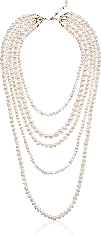 Gold-Tone Cream Color Pearl Multi-Strand Necklace, 34