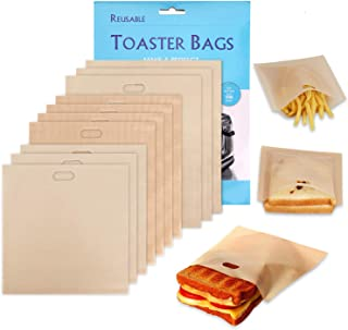 Non-Stick Reusable Toaster Bags - Samshow 3 Sizes Toaster Bags for Heat Resistant - FDA Approved, Perfect for Grilled Cheese Sandwiches, Chicken, Nuggets, Panini and Garlic Toasts - 10 Pack