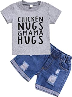 Baby Boy Letter Clothes Mama's Boy Short Sleeve Top Denim Pants Shredded Jeans Summer Outfits