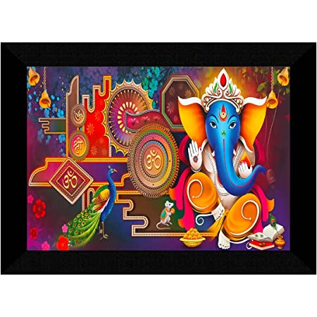 SAF Ganesha Modern art Multi-Effect UV Textured Home Decorative Gift Item Framed Painting 10 Inch X 13 Inch SANFK30865