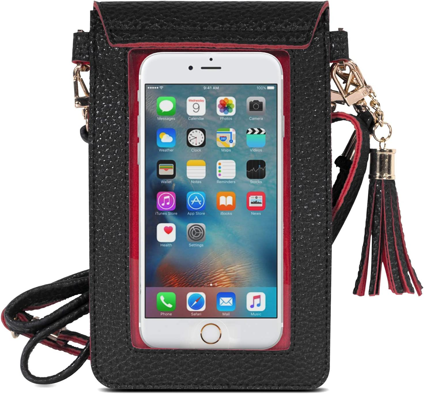 MoKo Cell Phone Bag, PU Leather Crossbody Bag Mini Phone Pouch Fit with iPhone 13 Mini/iPhone 13/iPhone 13 Pro, iPhone 12 Mini, iPhone SE 2020, Galaxy Note 10/S10e/S10/S10P/S20 - Black + Red