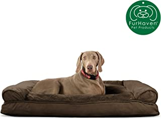 Furhaven Pet Dog Bed | Ultra Plush Faux Fur & Suede Pillow Cushion Traditional Sofa-Style Living Room Couch Pet Bed w/ Removable Cover for Dogs & Cats, Espresso, Jumbo
