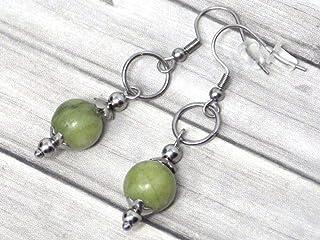 Orecchini da donna in acciaio inossidabile con anelli e perline di giada verde naturale di Taiwan