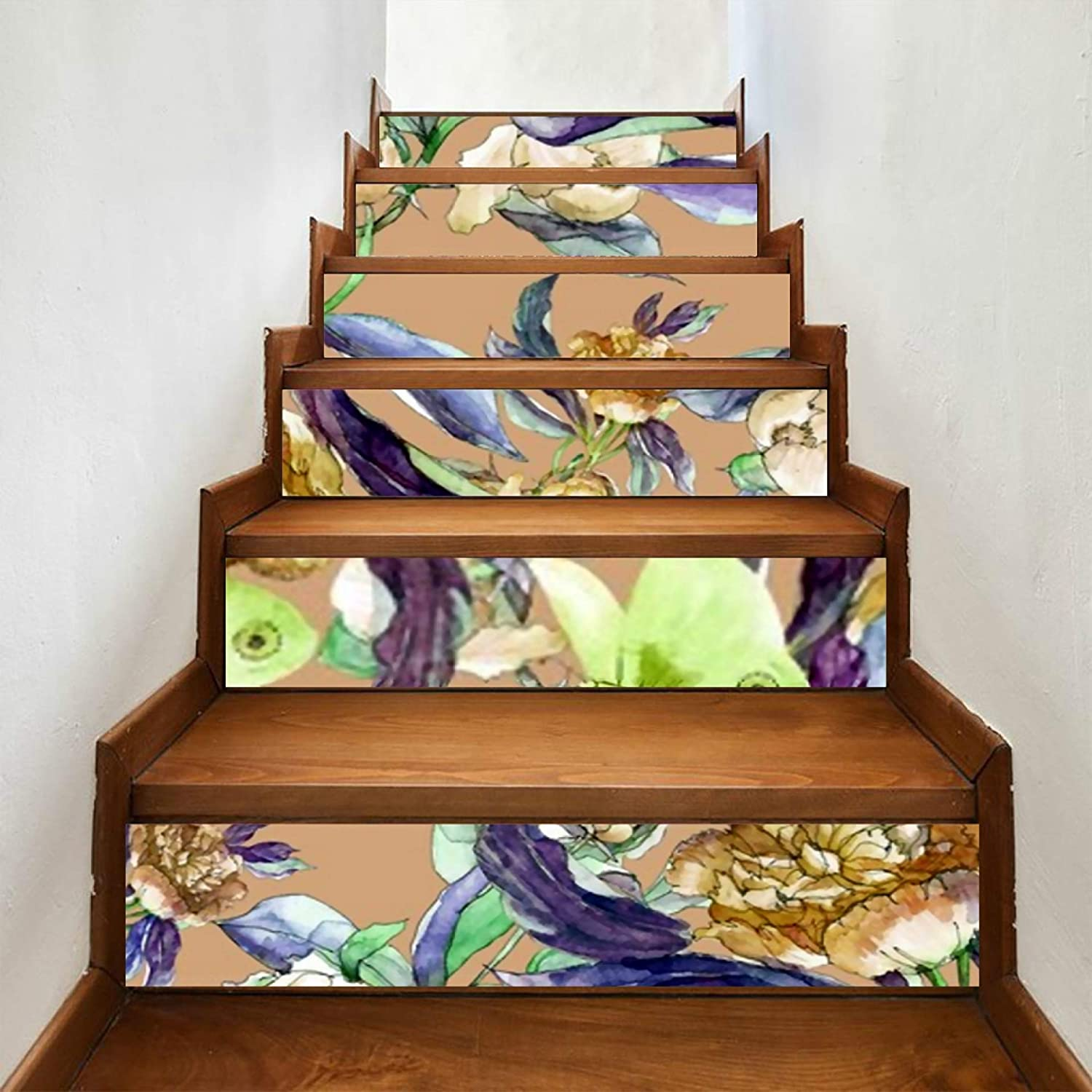 ALALAL 6 Pcs Modern Art Stair P Seamless Stickers Floral OFFicial New item site Pattern