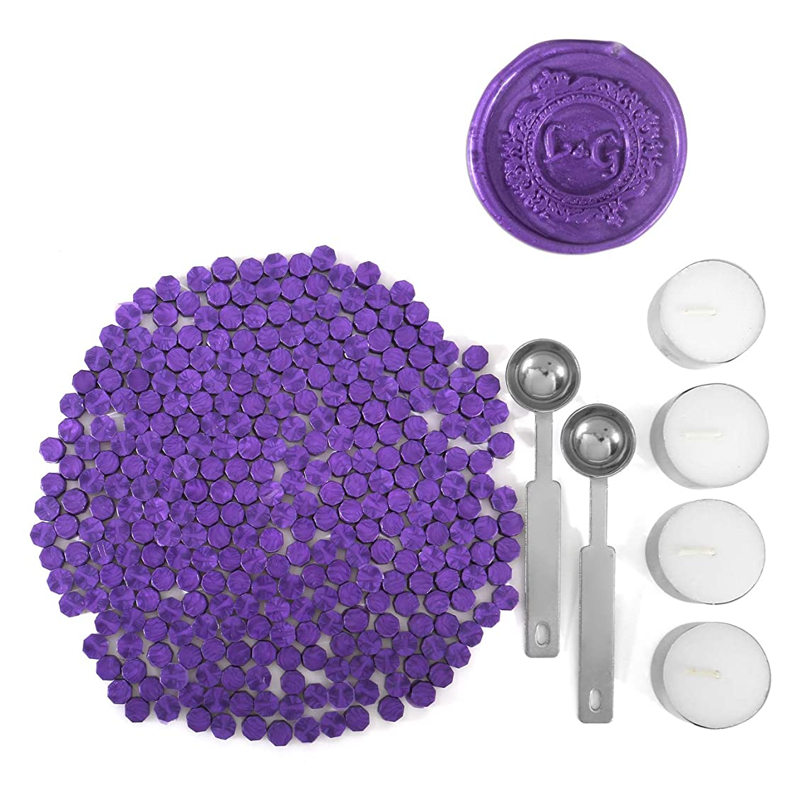 Purple Wax Seal Beads, Yoption 300 Pieces Octagon Sealing Wax Sticks Beads with 4 Candles and 2 Melting Spoons for Seal Stamp (Purple)