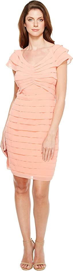 Tiered Chiffon Shutter Tuck Sheath Dress with V-Neckline