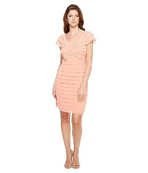 60b1fc995e922 Adrianna Papell Tiered Chiffon Shutter Tuck Sheath Dress with V ...