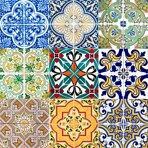 Tile Stickers 24 PC Set Authentic Traditional Talavera Tiles Stickers Bathroom & Kitchen Tile Decals Easy to Apply Just Peel and Stick Home Decor 6x6 Inch (Mexican Tile Sticker HA5)