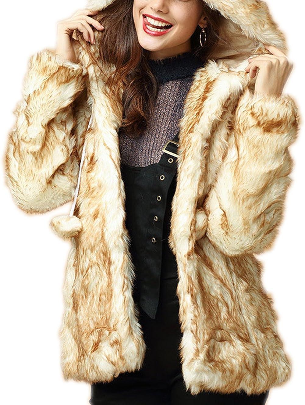 Women's Stylish Hooded Thick Faux Fur Outerwear Parka Long Sleeve Warm Coat