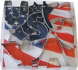 R&M International 1904 USA Patriotic Cookie Cutters, 2 Stars, Flag, Eagle, Heart, Letters U, S, A, 8-Piece Set